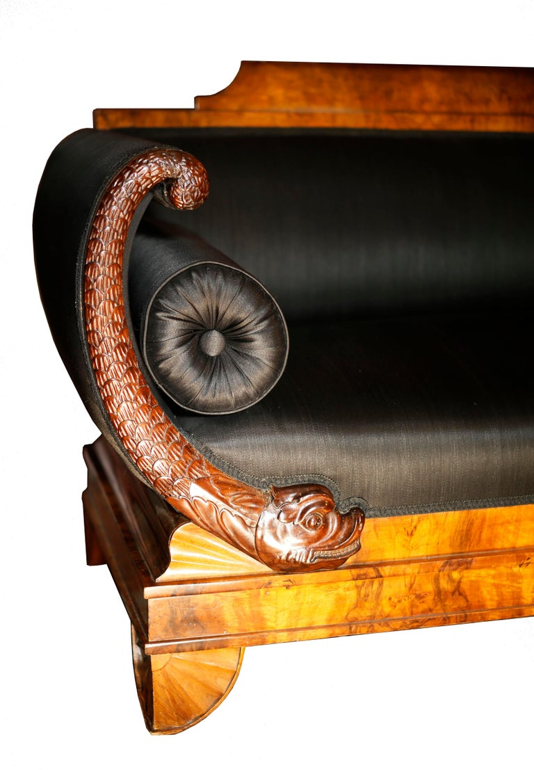 Early 19th Century German Burl Walnut Biedermeier Sofa In