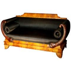 Early 19th Century German Burl Walnut Biedermeier Sofa in Black Horsehair Fabric
