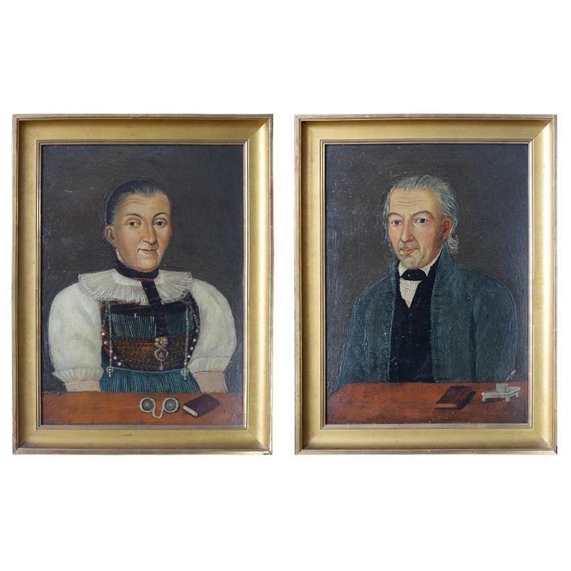 Early 19th Century German Folk Art Oil on Panel Paintings