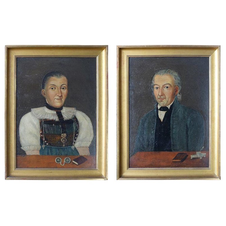 Early 19th Century German Folk Art Oil on Panel Paintings For Sale