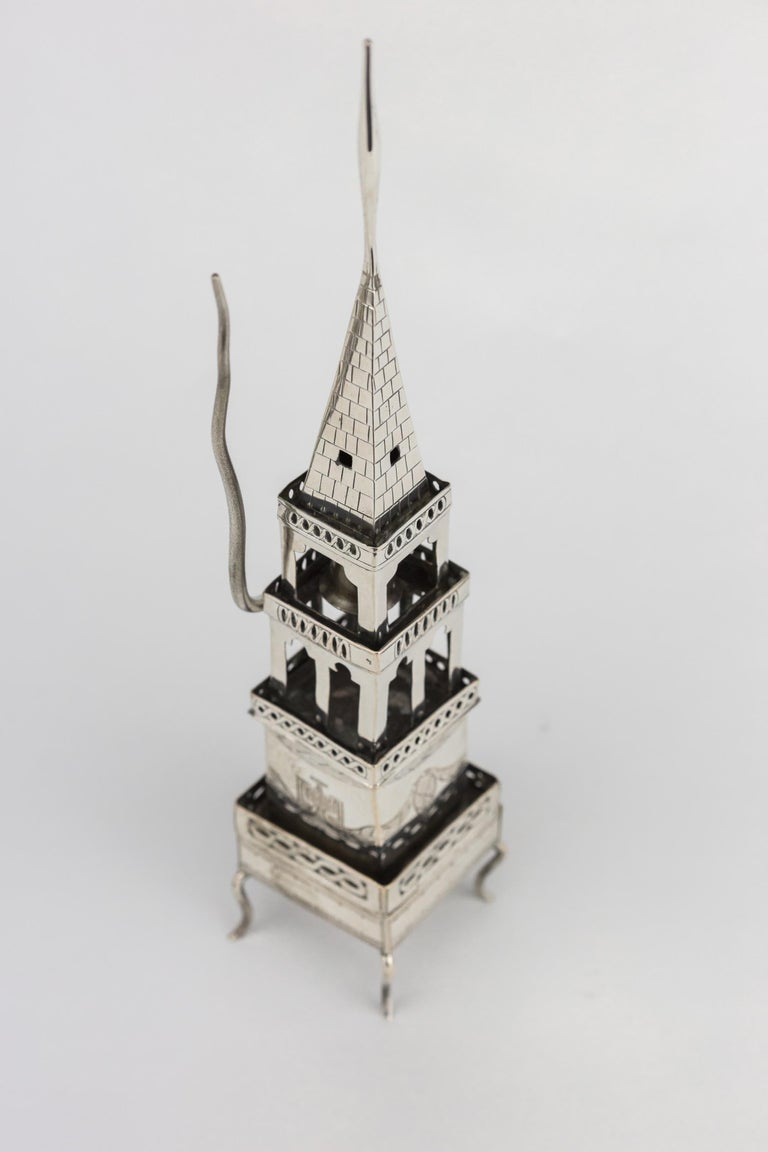 German Early 19th Century Habsburg Empire Silver Spice Tower and Havdalah Compendium For Sale