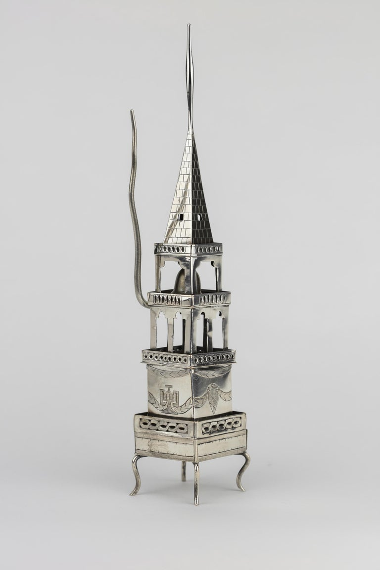 Early 19th Century Habsburg Empire Silver Spice Tower and Havdalah Compendium In Good Condition For Sale In New York, NY