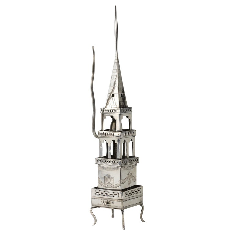 Early 19th Century Habsburg Empire Silver Spice Tower and Havdalah Compendium For Sale
