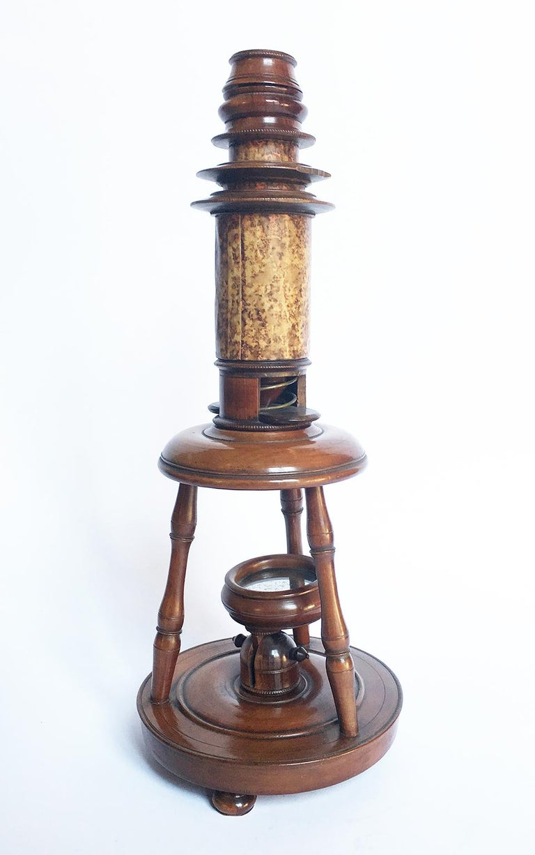 Early 19th Century German Wood and Cardboard Microscope, circa 1820 For Sale 11