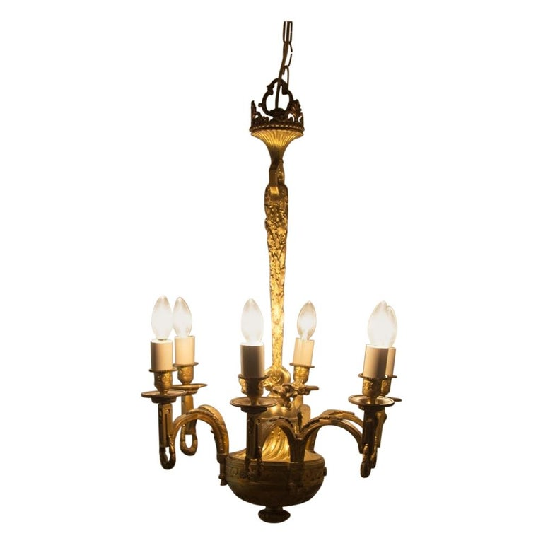 Early 19th Century Gilded and Brass Centre Light For Sale