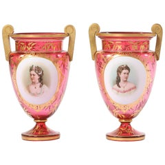 Early 19th Century Gilt Glass Pair of Vases or Urns