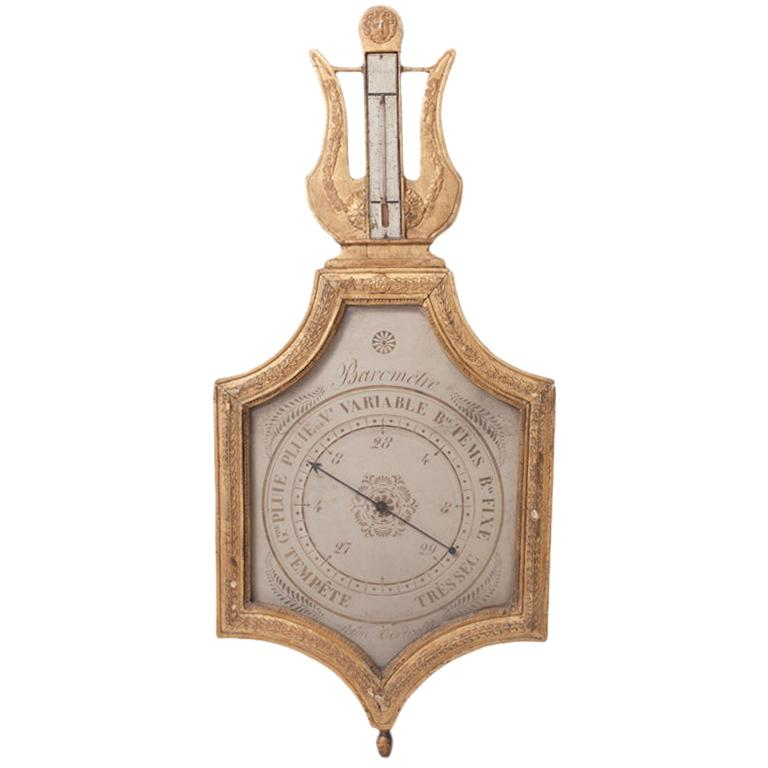 "Early 19th Century Giltwood Barometer ""Selon Toricelli"" For Sale"