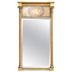 Early 19th Century Giltwood Verre Églomisé Mirror with Shell Scene