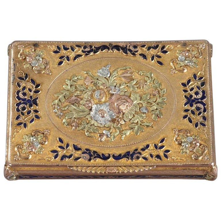 Early 19th Century Gold and Enamel Box, Swiss Work For Sale