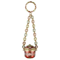 Early 19th Century Gold and Enamel Vinaigrette, Chain, and Ring, circa 1820