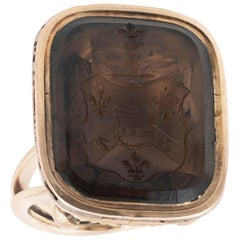 Early 19th Century Gold and Smokey Quartz Family Crest Ring
