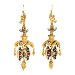 Early 19th Century Gold and Swiss Enamel Girandole Style Earrings