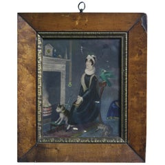 Early 19th Century Gouache & Pencil on Card Portrait The Old Maid In The Garret