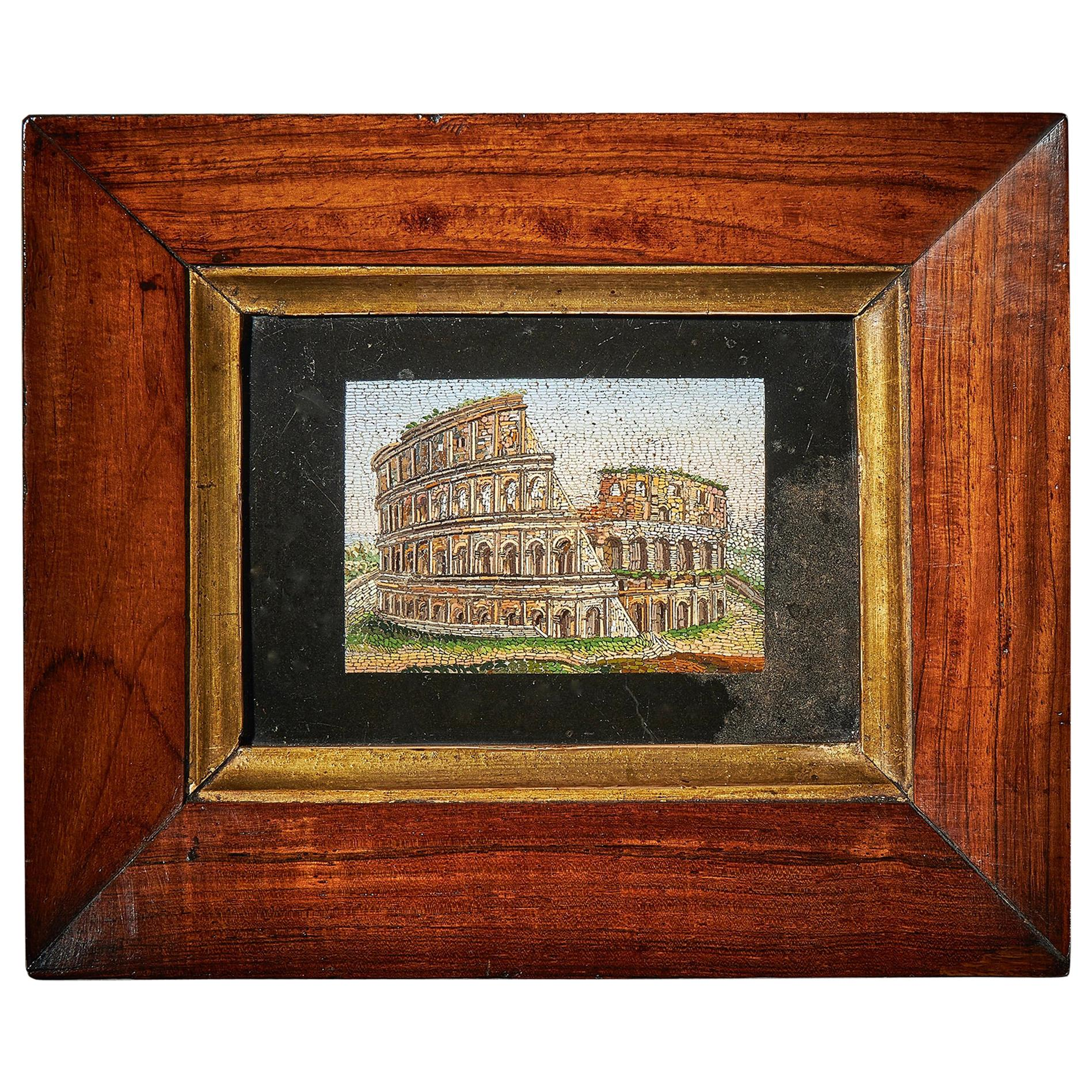 Early 19th Century Grand Tour Framed Pulvinated Micromosaic of the Colosseum