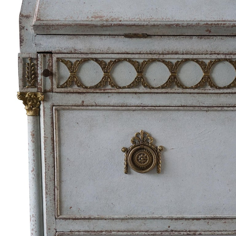 Hand-Painted Early 19th Century Gustavian Bureau or Writing Desk For Sale