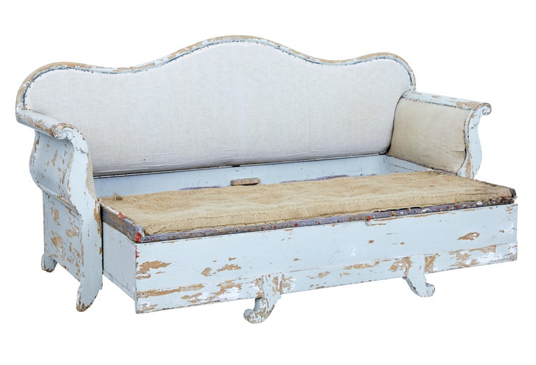 Swedish Early 19th Century Gustavian Painted Pine Sofa Bed For Sale