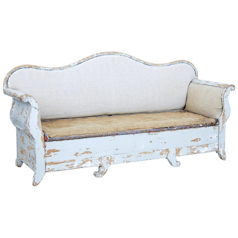 Early 19th Century Gustavian Painted Pine Sofa Bed For Sale