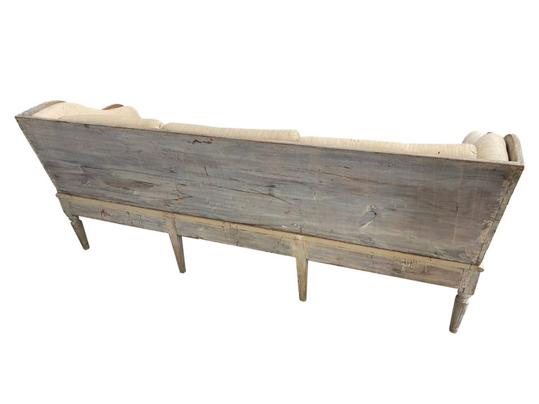 Fabric Early 19th Century Gustavian Swedish Wood Sofa with Original Blue Paint For Sale