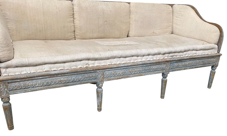Early 19th Century Gustavian Swedish Wood Sofa with Original Blue Paint For Sale 1