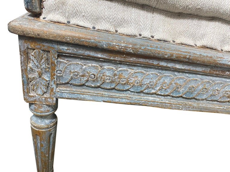 Early 19th Century Gustavian Swedish Wood Sofa with Original Blue Paint For Sale 2
