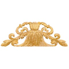 Early 19th Century Hand Carved Giltwood Pediment Fragment from Italy