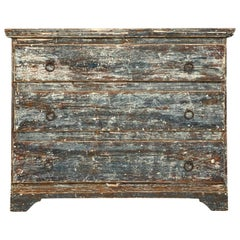 Early 19th Century Handscraped Swedish Blue Chest of Drawers/Commode