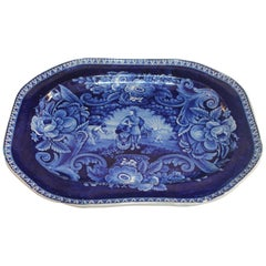 Early 19th Century Historical Blue Pottery Platter