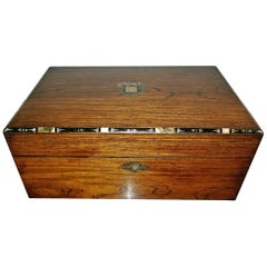 Early 19th Century Irish Mahogany Writing Slope with Armorial Crest