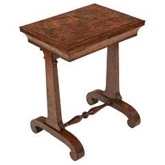 Early 19th Century Irish Regency Burr Elm Work Table
