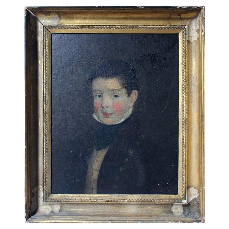 Early 19th Century Irish School Oil on Board of a Young Boy, circa 1810-1825