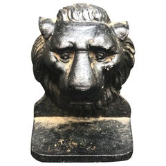 Early 19th Century Iron Lion Head Doorstop