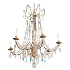 Early 19th Century Italian 6 Arm Crystal & Silver Gilt Carved Wooden Chandelier