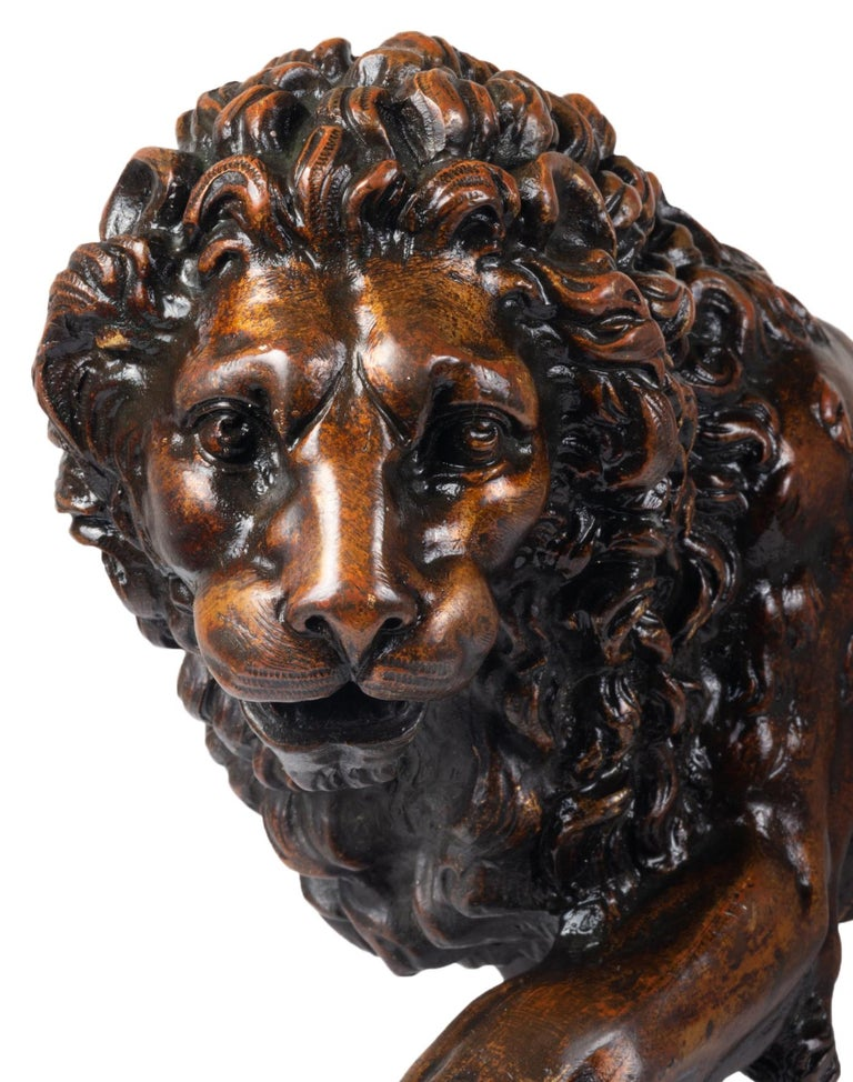 Patinated Early 19th Century Italian Bronze Lion For Sale