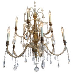 Early 19th Century Italian Carved Wood and Beaded Chandelier