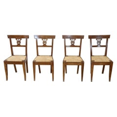 Early 19th Century Italian Empire Carved Walnut Wood Four Antique Chairs