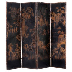 Early 19th Century Italian Four Fold Black Leather Screen Chinoiserie Decoration