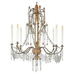 Early 19th Century Italian Giltwood, Glass and Crystal Eight-Light Chandelier