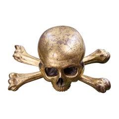 Early 19th Century Italian Giltwood Skull & Crossbones Memento Mori