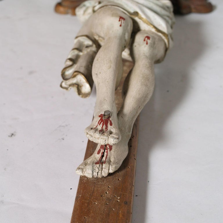 Neoclassical Early 19th Century Italian Hand-Carved and Polychromed Wood Crucifix