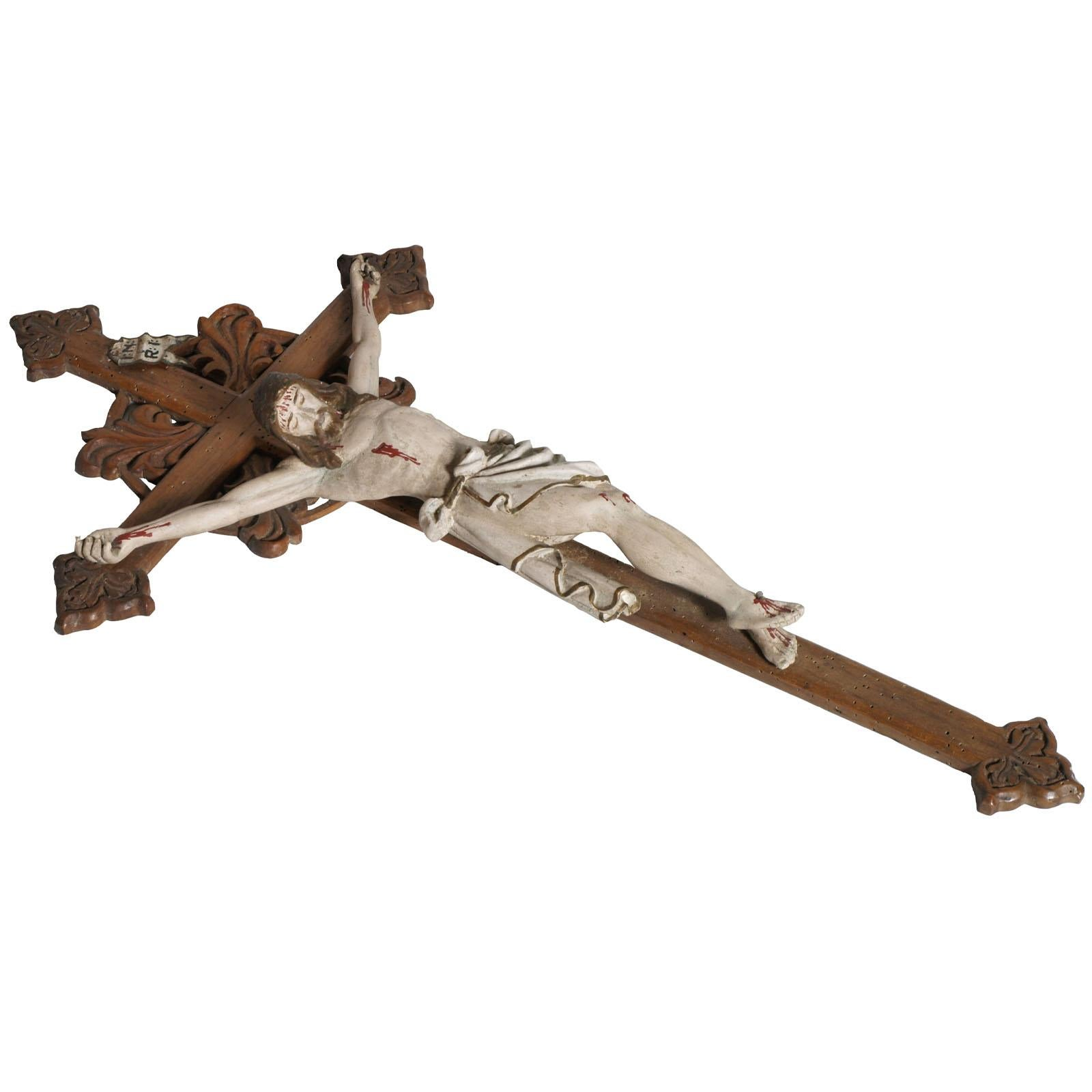 """Early 19th Century Italian Hand-Carved and Polychromed Wood Crucifix """"Cadore"""""""
