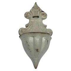 Early 19th Century Italian Holy Water Font White Ceramic Religious Artwork