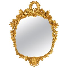 Early 19th Century Italian Louis XVI Style Oval Giltwood Mirror