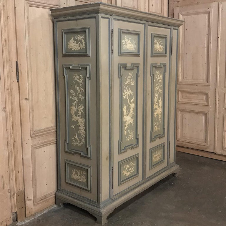 Neoclassical Revival Early 19th Century Italian Neoclassical Painted Armoire For Sale