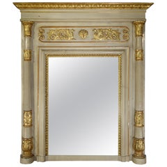 Early 19th Century Italian Neoclassical Style Giltwood Trumeau Mirror Ca 1820