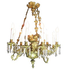 Early 19th Century Italian Rococo Cast Gilt Bronze Chandelier