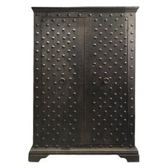 Early 19th Century Italian Safe Wardrobe in Chestnut Wood and Iron