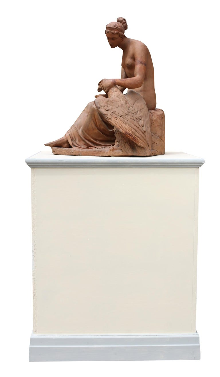 Early 19th Century Italian Terracotta Sculpture of Hebe and the Eagle In Fair Condition For Sale In Wormelow, Herefordshire