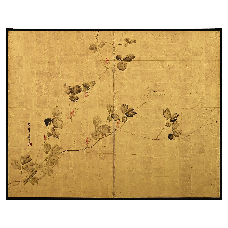 Early 19th Century Japanese Screen, Kudzu Vine by Sakai Hoitsu, Rinpa School
