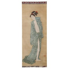 Early 19th Century Japanese Scroll Bijin after the Bath in Summer