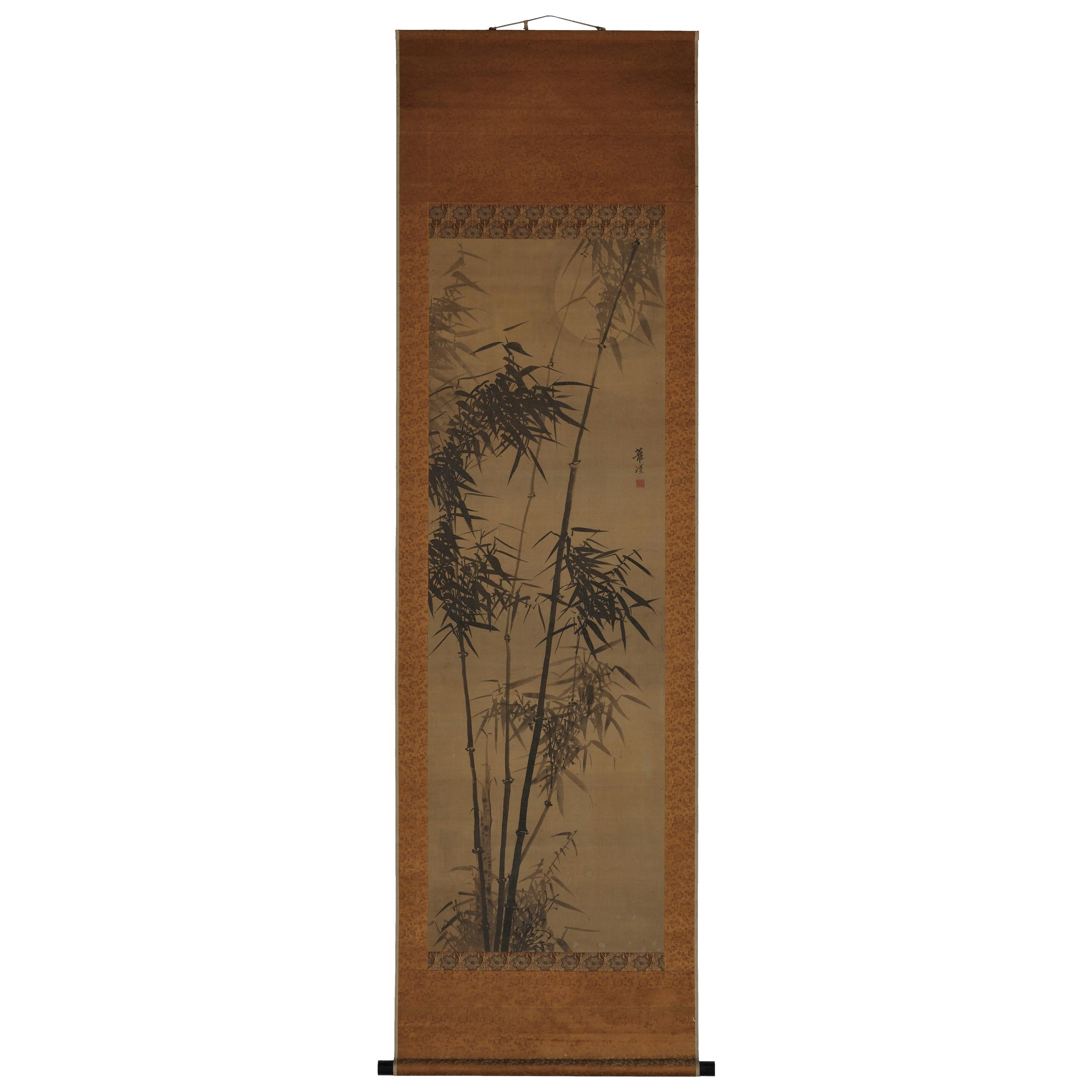 Japanese Painting, Hanging Scroll, 19th Century Bamboo in Moonlight